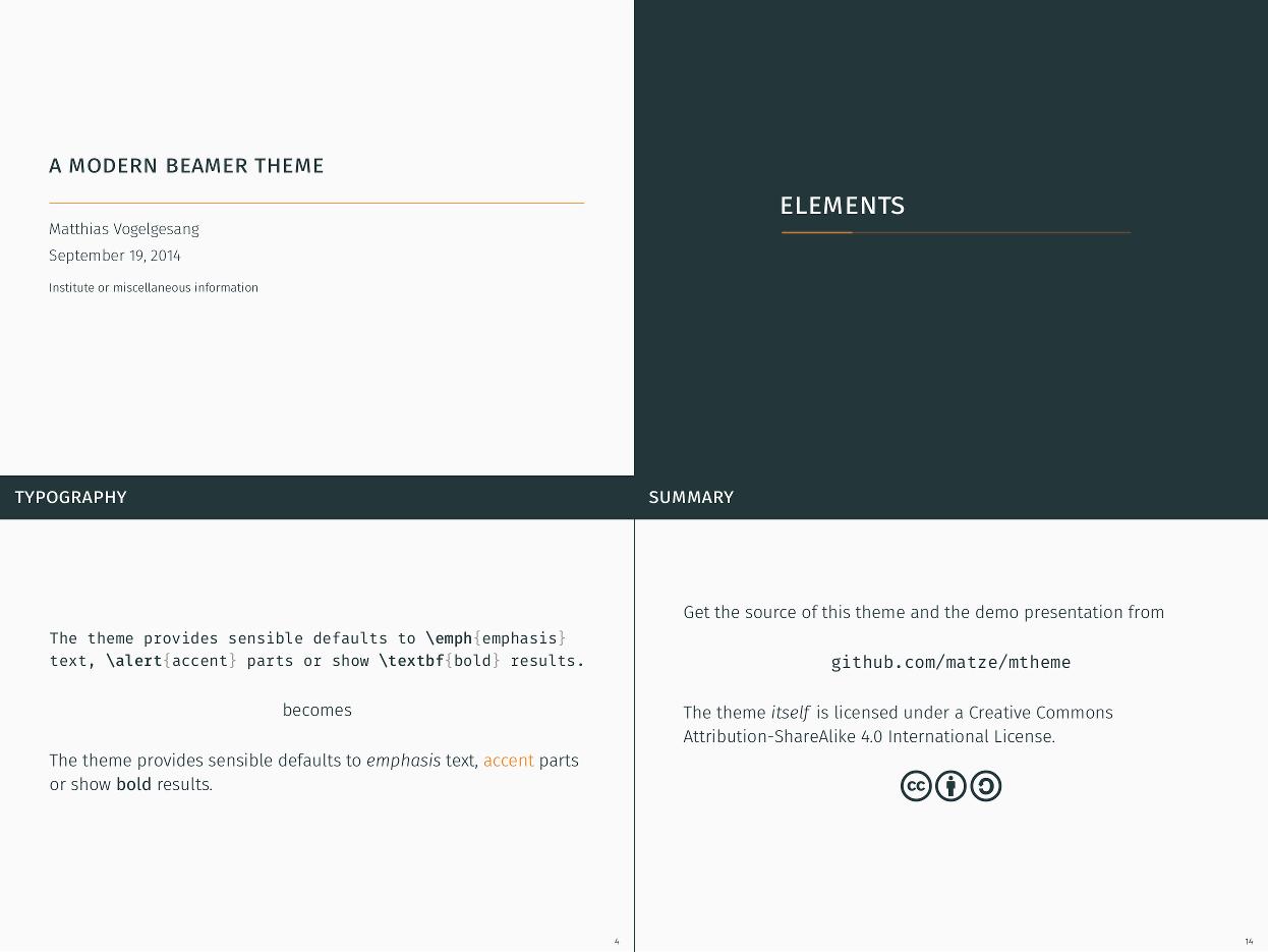 bloerg: a modern beamer theme, Presentation templates